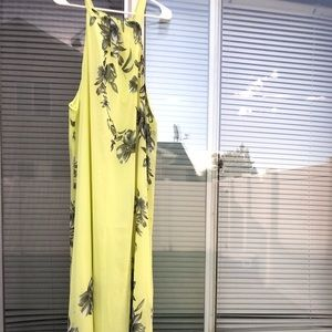 🍁Halter maxi dress neon yellow lined
